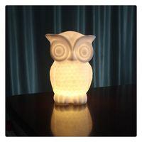 baykuş oda dekoru toptan satış-1 W LED Gece Lambası Bebek Baykuş Şekli Beyaz Sıcak beyaz Işık PVC Masa Lambası Kapalı Dekoratif Nightlight Çocuk Odası Parti için Sevimli dekor