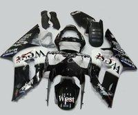 injeção personalizada venda por atacado-Novo Molde de Injeção Motocicleta Abs Carcaça Kit Fitment para kawasaki Ninja ZX6R 636 2003 2004 03 04 6R 600CC Carroçaria conjunto personalizado preto Oeste