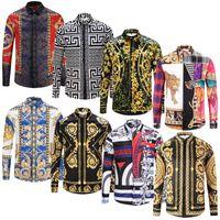 3d druck kleidung großhandel-Fashion Designer Slim Fit Shirts Männer 3D Schwarz Gold Blumendruck Mens Dress Shirts Langärmelige Business Casual Shirts Männer Kleidung