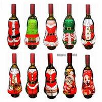 ingrosso tabelle uk-Nuovi sacchetti di vino Coperchi di bottiglia di vino rosso Regalo Bottiglia di vino Copertura di Natale Babbo Natale Pupazzo di neve Decorazione per ornamenti Tavolo Natale Regno Unito