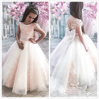 Wholesale white lace rhinestone bow for sale - Group buy Champagne Vintage Flower Girl Dresses Jewel Neck Short Sleeve Lace Appliqued Pageant Dress Little Baby Gowns for Communion Boho Weddin
