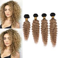 Wholesale honey brown hair weave for sale - Ombre Honey Blonde Deep Wave Brazilian Human Hair Weave Bundles B Ombre Light Brown Virgin Hair Wefts Deep Curly Mixed Length