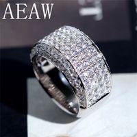 14k 585 de oro blanco al por mayor-AEAW Luxury Center 10mm Ancho DF Color VVS Moissanite Anillo de compromiso para Hombres Sólido 14K 585 Anillo de oro blancoS1123