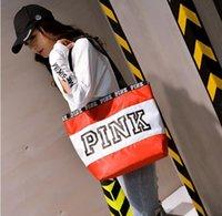 bolsos de textura al por mayor-HighWomen Bolsos de color rosa Nuevos bolsos bandolera Superficie de la textura Bolsas de lona Bolsas de compras impermeables de Euramerican Fashion