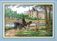 Wholesale set castle canvas prints resale online - Suburban scenery castle Outing home decor painting Handmade Cross Stitch Embroidery Needlework sets counted print on canvas DMC CT CT