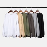 fenda da camisa de t venda por atacado-Fendas laterais de manga longa de algodão t-shirt hip hop relaxado Raglan Tee Kanye West Streetwear