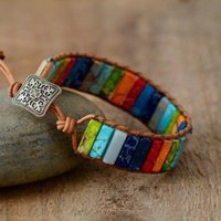 Wholesale Handmade Leather Wrap Multi Color Tube Chakra Beads Natural Stone Bracelet New