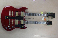 Wholesale red color guitars for sale - Group buy 2013 Hot Selling strings and strings double neck g shop custom SG electric guitar in red color