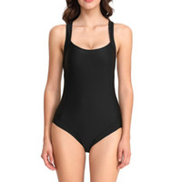 Wholesale womens plus size bathing suits for sale - Group buy 2019 Swimwear One Piece Swimsuit Womens Sexy Back Cross Straps Black Beach Bathing Swimming Suit Plus Size Bodysuit Women