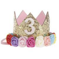 ingrosso bei accessori della neonata-Baby Girl Compleanno Decor Flower Party Cap Corona Fascia Priness Style Accessorio Baby Birthday Party Performance Digital Crown Beautiful Gif