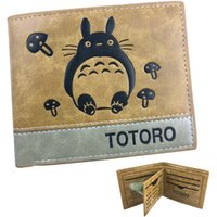 Wholesale totoro card holder resale online - Tonari no Totoro wallet Khaki color purse Open design short leather cash note case Money notecase Loose change burse bag Card holders