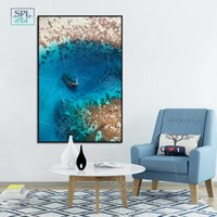 Wholesale paintings sailing boats for sale - Group buy Nordic Blue Seascape Beach Poster and Prints Modern Scandinavian Decor Canvas Painting Sailing Boat Wall Art Picture for Bedroom