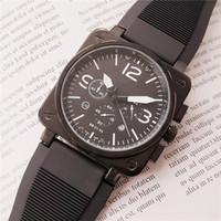 relojes cuadrados de goma para hombre al por mayor-Moda de diseño cuadrado para hombre Reloj de lujo Todos Marcar trabajo BR Movimiento de cuarzo Reloj de pulsera Correa de caucho Reloj reloj Relojes de diseñador para hombre