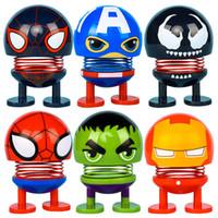 kopfschütteln spielzeug großhandel-2019 Super Heros Shaking Head Puppen Auto Ornament Zubehör Spiderman Captain America Spring Toys Schreibtisch Bobblehead Puppen Funny Toys