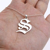 Wholesale b necklace for sale - Group buy Old English Initial Necklace Women Men Custom Name Letter Necklace Alphabet A B C D E H M S T U V W X Personalized Colar