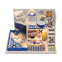 construir blocos de casas venda por atacado-Diy puzzle toy house doll modelo de madeira móveis blocos de construção de brinquedos presentes de aniversário o som do mar m040
