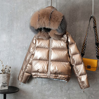 ingrosso giacche lunghe-Piumino lungo double face Collo invernale in pelliccia Cappotto in piumino d'anatra bianco Parka caldo imbottito