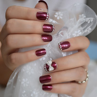 Wholesale nails art black bow for sale - Group buy Customize D Jewelry Gems Bow Purple False Nail Butterfly Crystal Rhinestones Fake Nails Press on Daily Wear Nail Art Tips