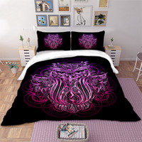 cama de coruja cheia venda por atacado-Roxo OWL Conjunto de cama Animal Capa de Edredão Fronhas Fronha Gêmeo Completa Rainha King size conjunto de cama Têxteis para casa