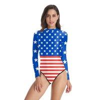 terno fêmea de látex venda por atacado-One Piece Impressão 3D Retro Americano Vermelho Listrado Bandeira Mulheres Swimwear Triângulo Maiô Manga Longa Do Vintage Swimsuit Feminino sexy