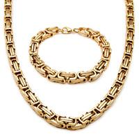 collares moteros al por mayor-316L collar de las pulseras del motorista del acero inoxidable fijaron para hombre de acero de la bici de titanio dorado de grueso y pesado joyería cadenas de moda