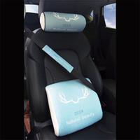 Wholesale green seat belts resale online - 3pcs set New Car Neck Pillows Headrest lumbar support Seat belt cover Memory Foam styles