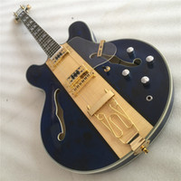 Wholesale blue hollow body electric guitar for sale - Group buy New style Hollow body electric guitar Rosewood fingerboard double F holes gold tremolo guitar