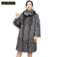 tilki yünlü palto toptan satış-Gerçek Silver Fox Kürk, doğal Fox Kürk Kadınlar Kürk Fox Yün Örgü Liner, şık Standı Yaka 2019 Qd.yishangMX191009