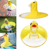 divertidas manos libres al por mayor-Niños lindos UFO impermeable cubierta de lluvia divertido pato amarillo impermeable poncho paraguas manos libres ropa impermeable impermeable lluvia Gear zhao
