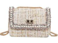 petits sacs en porcelaine achat en gros de-2019 marque nouvelle européenne et américaine china rabat perles incrusté Nylon PU CUIR femmes petit sac à main sac à bandoulière sac à main fourre-tout N08