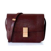 пакет компонентов оптовых-Overseas2019 Зерновая ящерица Trend Bean Curd Woman Маленькая квадратная сумка на одно плечо