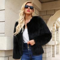ingrosso scaldino del collo della pelliccia nera-Donna Autunno Inverno Breve Faux Fur Coats manica lunga O-Collo solido nero casuali dimagriscono spessore caldo Giacche formato S-3XL