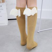 Wholesale kids girls hose online - Girls Kid Socks Stockings Angel Wing Child Long Knee Sock Candy Color Sock for Girls Child Vertical Striped Hose for Y