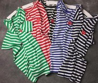 kurzes hemd frauen japan großhandel-Harajuku Japan Stickerei Rotes Herz DES spielen GARCONS CDG Männer Schwarz Marke Hip Hop Kurzarm Welle Punkt Streifen Klassische T-Shirts Frauen T