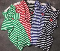t-shirt super achat en gros de-Harajuku Japon Broderie Rouge Coeur DES play GARCONS CDG Hommes Noir marque hip-hop Manches vague point rayé T-shirts Classiques T-shirt Femme