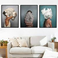 schöne wohnkultur bilder großhandel-3 Stücke Ungerahmt Abstrakte Malerei Feder Schöne Frau Bild Kunst Moderne Wandkunst Wohnkultur (Kein Gestaltet)