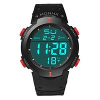 relógios vermelhos lcd digital venda por atacado-Momento # N03 2018 Preto Azul Verde Vermelho natação e 50 m mergulho À Prova D 'Água dos homens LCD Digital Data Cronômetro Data Relógio de Pulso de Borracha