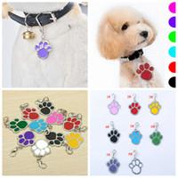 anahtarlık etiketleri toptan satış-8styles Kedi Köpek etiketi Pet Adı Marka Anahtarlık Kimlik Kartı Anahtarlık Köpek Paw Print kolye süs Anahtar Tutucu Köpek Etiket FFA3206