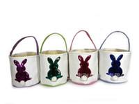 Wholesale easter clothing sales resale online - Sequins Rabbit Basket Easter Embroidery Barrel DIY Portable Manual Canvas Baskets Pink Blue Festival Decorate Hot Sales czaC1