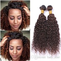 tramas de pelo marrón medio al por mayor-Kinky Curly # 4 Medium Brown Cabello humano teje 3 piezas Mink Brasileño Cabello humano Chocolate Brown Virgin Paquetes de cabello 10-30