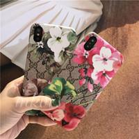cubierta de la caja dura de la flor para el iphone al por mayor-Diseñador de lujo caja del teléfono TPU flor cubierta de piel para iPhone X XS MAX XR 8 8plus 7 7plus 6 6plus 6s más Shell de moda dura
