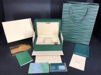 bolsas de regalo de marca al por mayor-El más nuevo estilo de lujo marca verde original caja de reloj de madera papeles de regalo bolsa de cuero gratis tarjeta personalizada para Rolex Box 116600 cajas de relojes