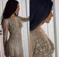 vestido de noche corto de lujo al por mayor-Venta caliente de lujo con cuentas vestido de noche corto de manga larga de los vestidos de noche de cristal cóctel Vestidos de fiesta hecha a mano de diamantes de imitación robe de soirée