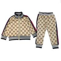 zebra moda gömlek toptan satış-Yeni Marka Kızlar Mektup Hoodie Moda Rahat Ceket Spor Seti erkek Yüksek Kaliteli Gömlek Pantolon Bebek Kazak Seti