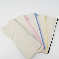 lona embreagem saco simples venda por atacado-DIY 20.5 * 8.5 cm Lona Branca Em Branco Simples Zíper Lápis Caneta Sacos Casos de Artigos de Papelaria Saco Organizador de Embreagem Bolsa de Armazenamento de Presente