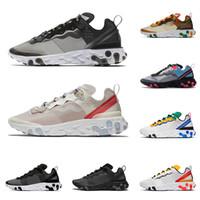 erkek koşu ayakkabıları toptan satış-2020 react element 87 55 Erkekler kadınlar için gizli koşu ayakkabıları beyaz siyah NEPTUNE YEŞIL mavi erkek eğitmen nefes spor sneakers