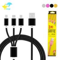 types chargeurs mobiles achat en gros de-3 en 1 micro câble de charge usb c câble de chargeur de chargeur de téléphone portable Android en nylon pour ip5 / 6/7 xiaomi câbles Samsung