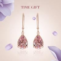 ingrosso l'orecchino ciondola rosa-Orecchini a goccia a goccia in pietre preziose rosa placcato in oro rosa 18 carati Monili da donna banchetto con gocce d'acqua