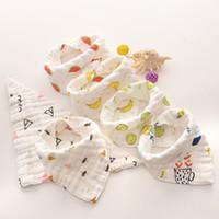 Baby Bibs Cartoons INS Bibs Burp Cloths Foral Printed Cotton 8 layer bibs Bandana Infant Saliva cloth Triangle Towel 15styles GGA2024