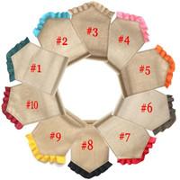 paskalya için süslemeler toptan satış-Boş Çuval Bezi Bayrak DIY Jüt Ruffles Bahçe Bayrakları Taşınabilir Boş Afiş Paskalya Bahçe Süslemeleri 10 Renkler